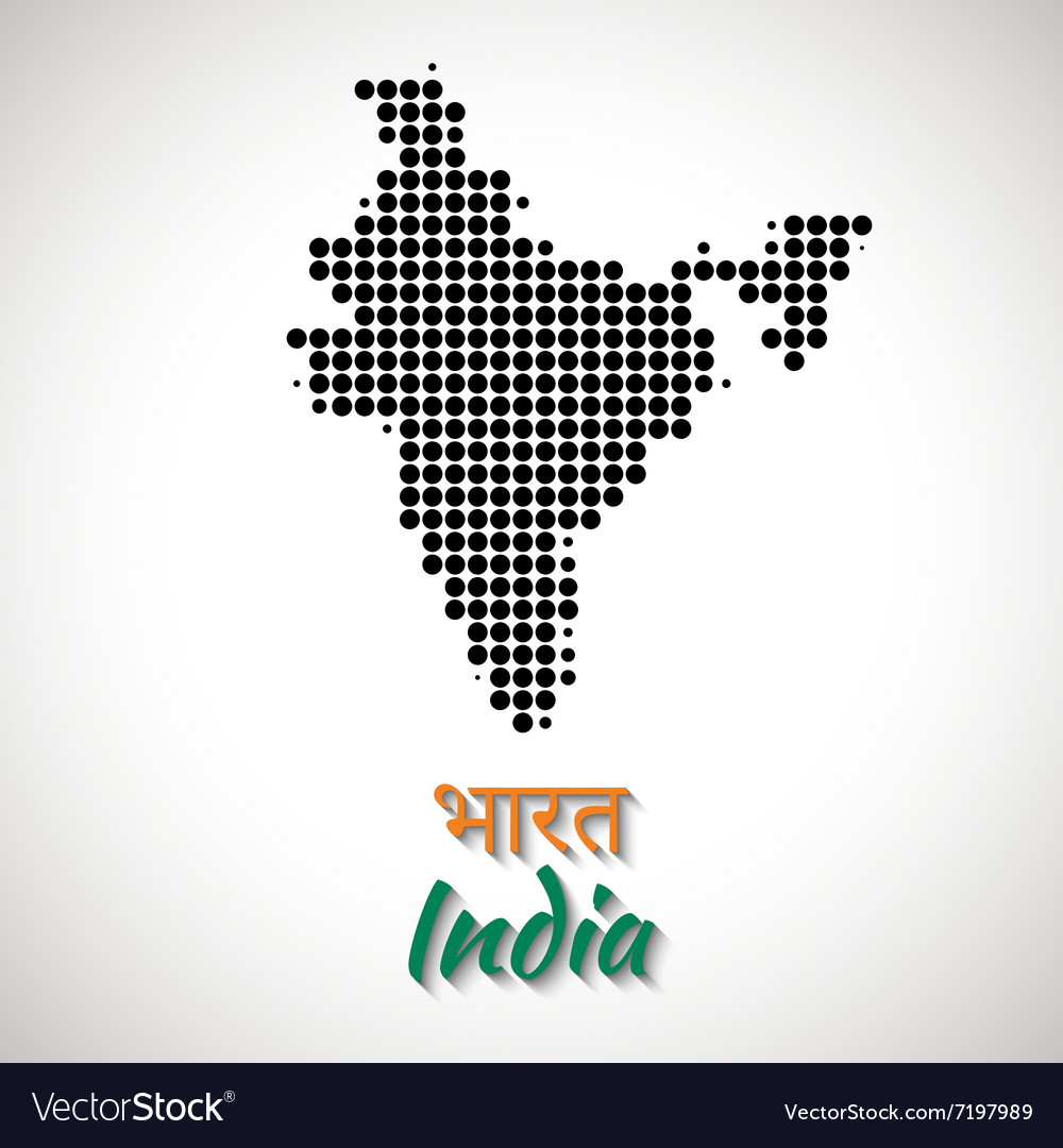 India Map black color dotted design
