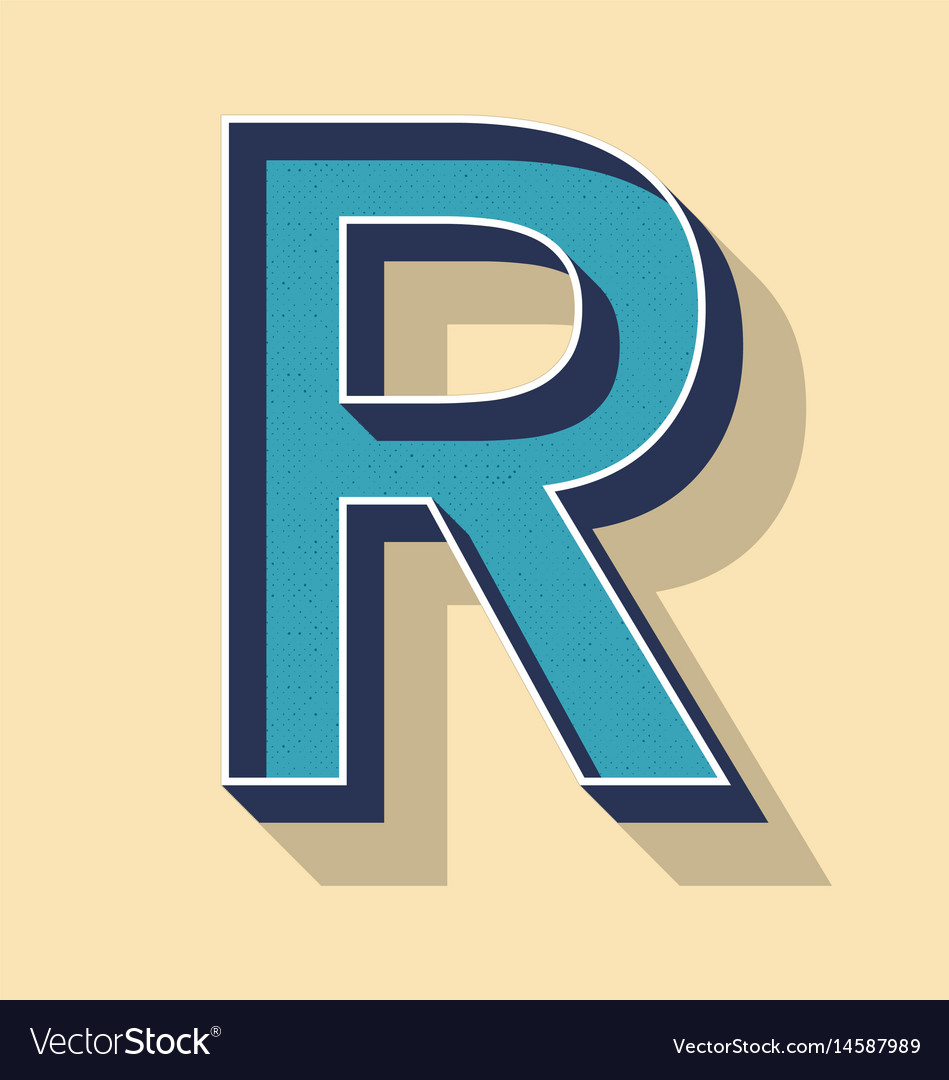 Letter R Retro Text Style Fonts Concept Royalty Free Vector