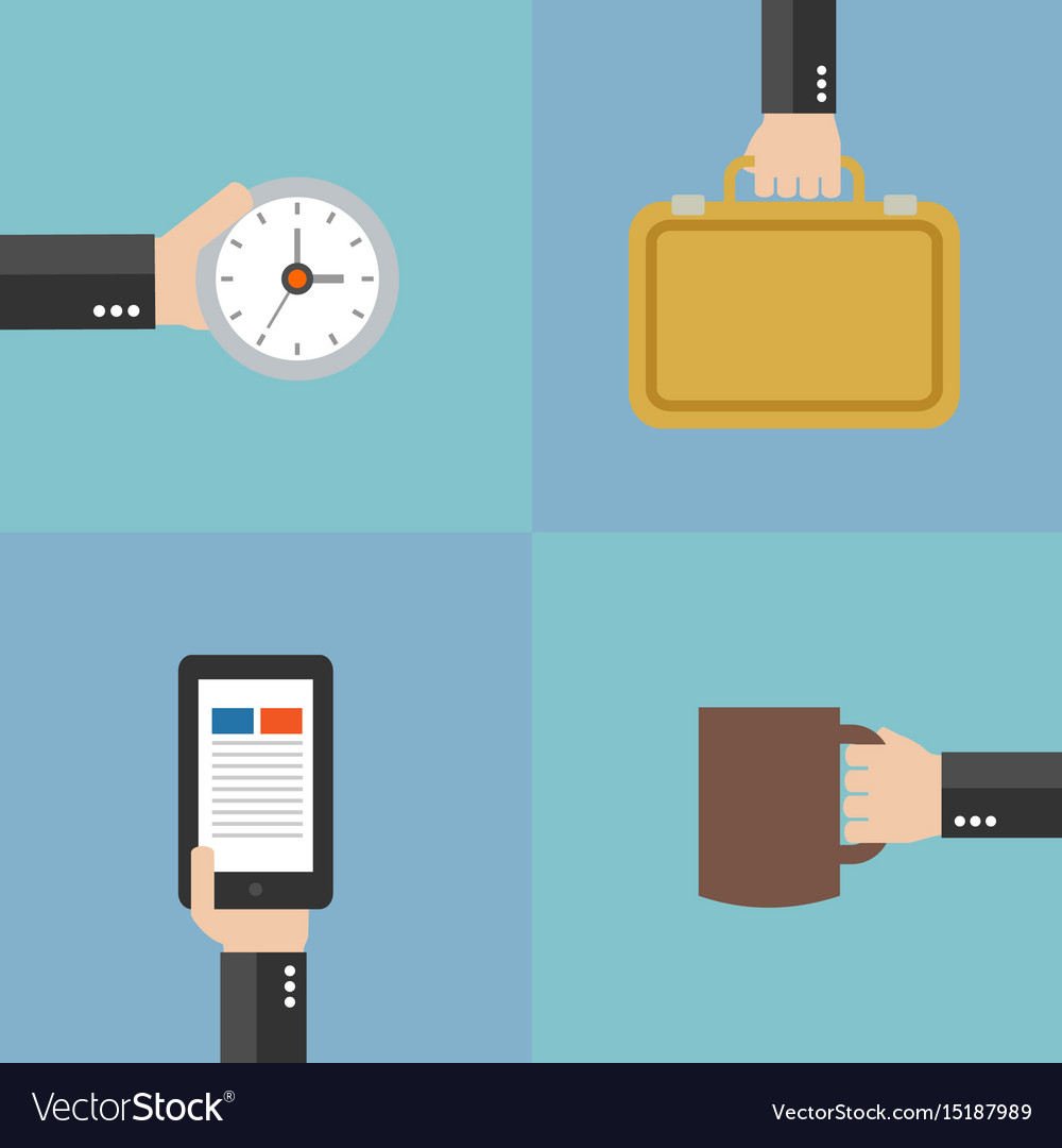 Modern business flat set background with hand vect vector image