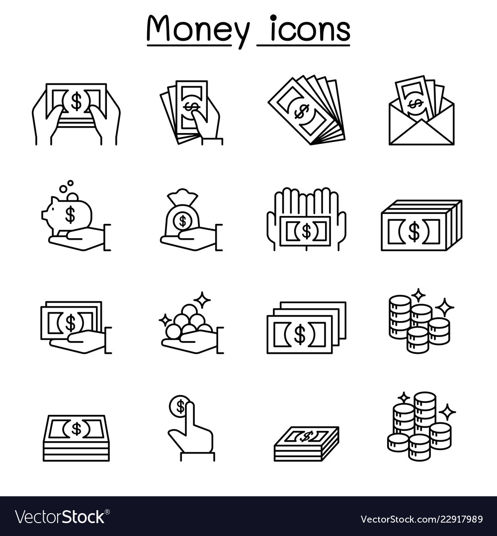 Money hand icon set in thin line style