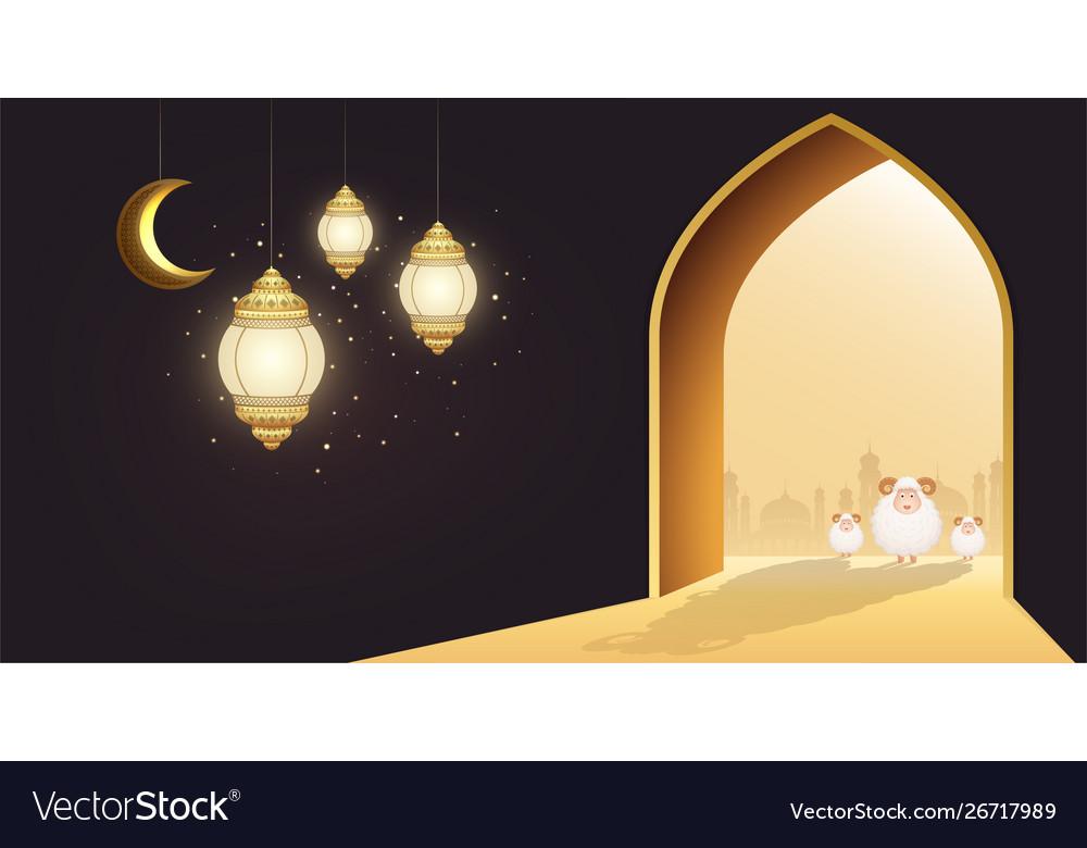 Muslim holiday eid al-adha white sheep or