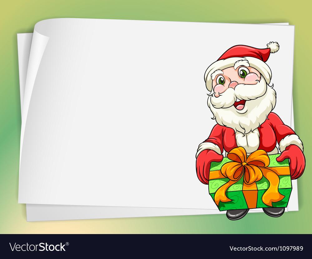 Paper sheets and santa claus