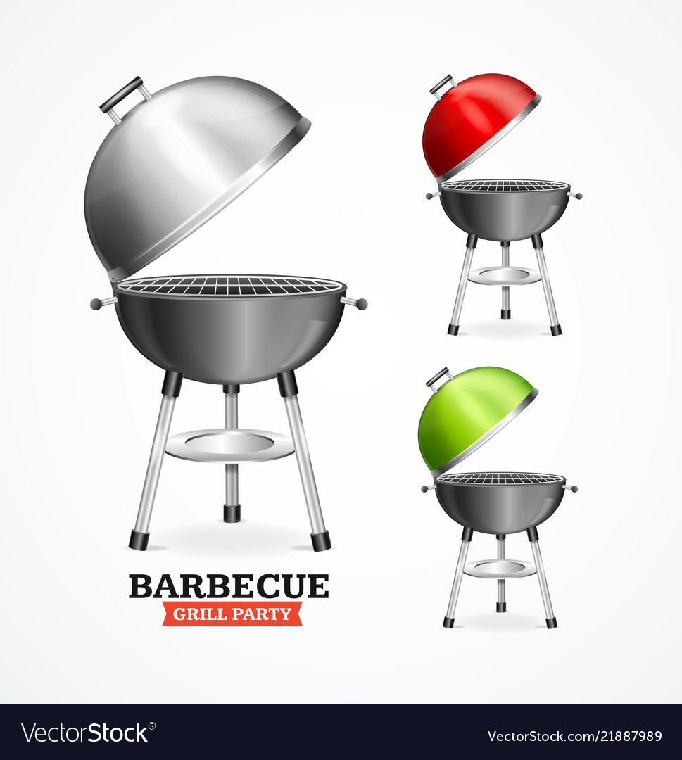 Realistic detailed 3d bbq or barbecue grill set