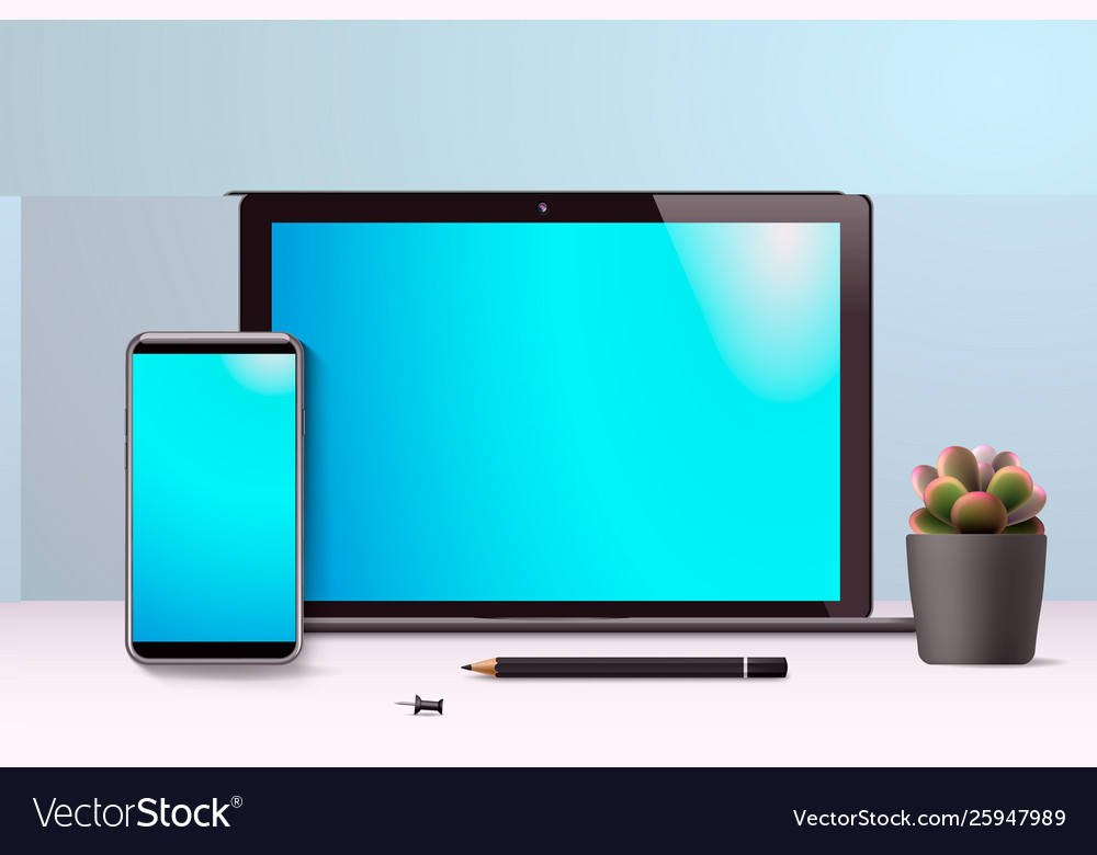 Realistic laptop and smartphone workspace front