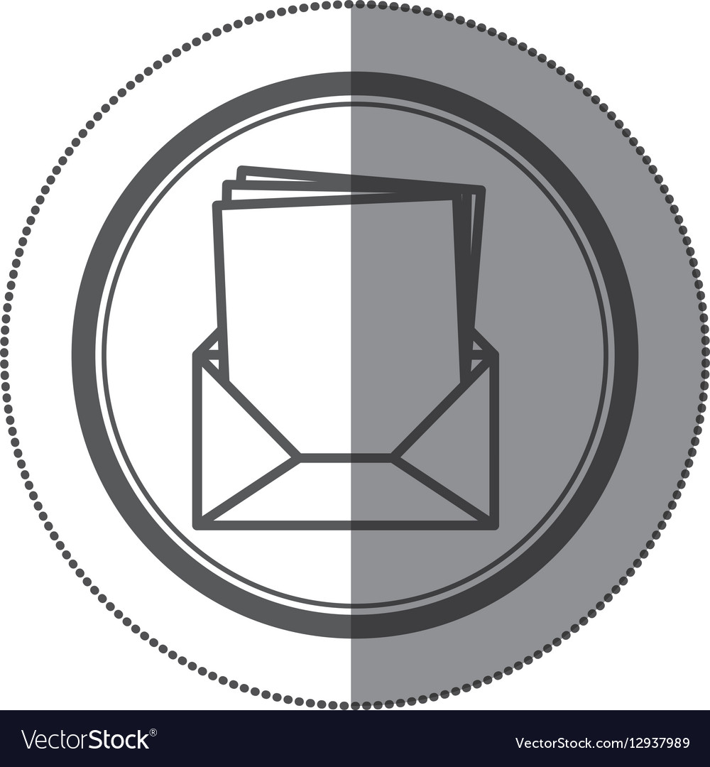 Sticker circular shape with Blank paper envelopes vector image