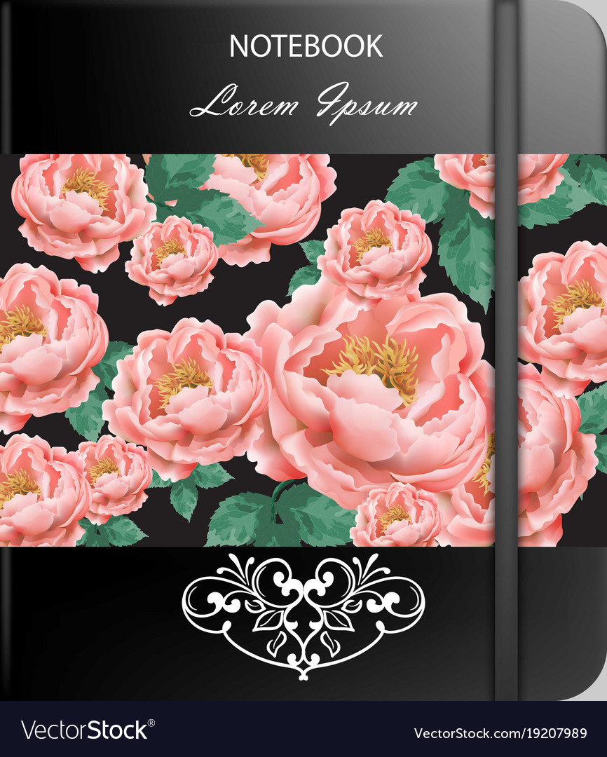 Vintage rose flowers page or notebook cover vector image