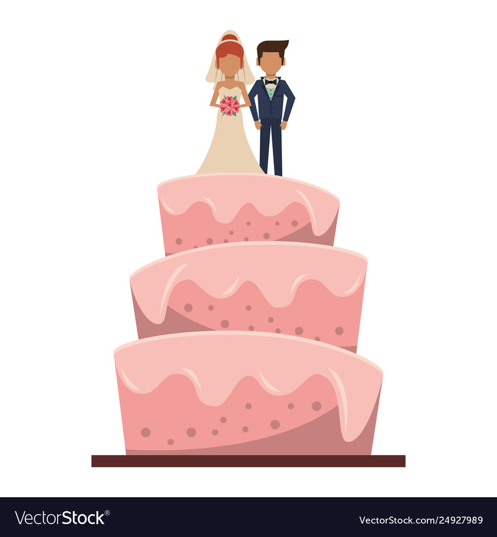 Wedding Cake Cartoon Isolated Royalty Free Vector Image