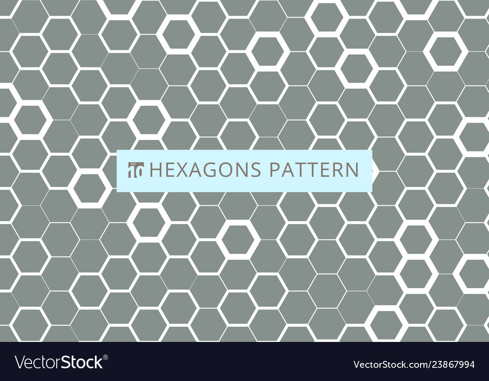 Abstract white hexagonal pattern on gray