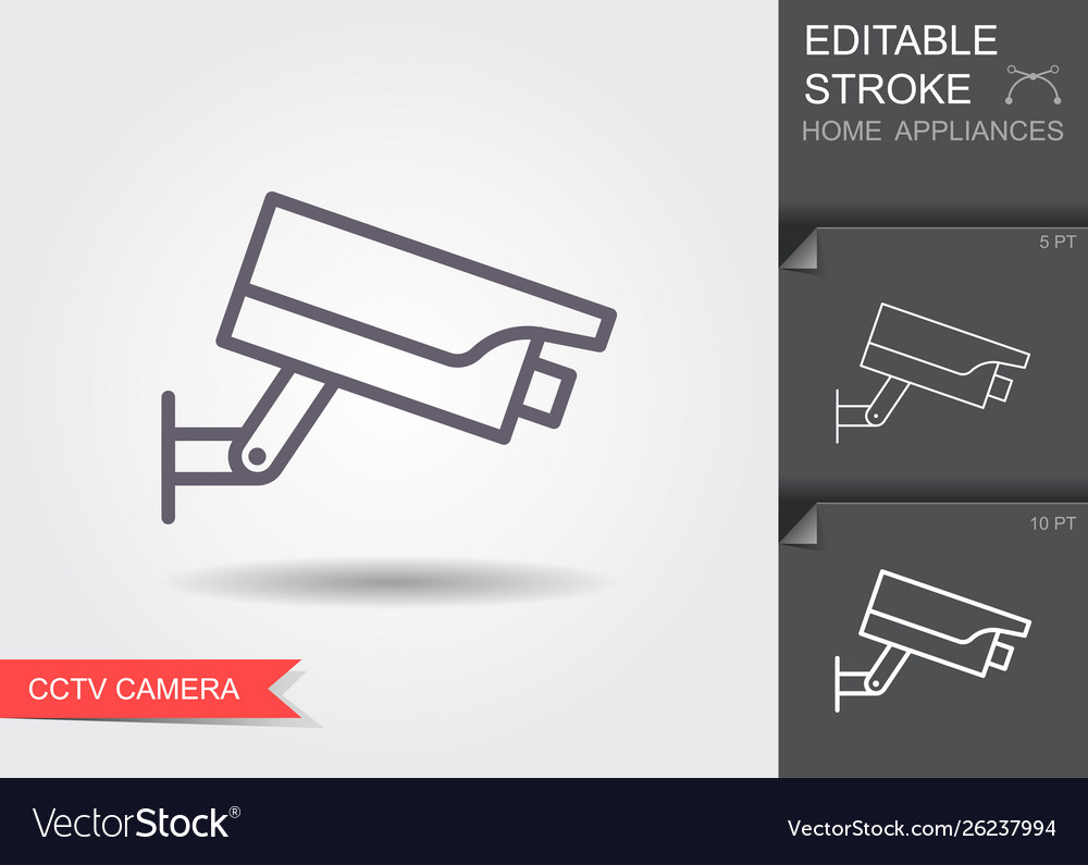 Cctv camera line icon with editable stroke with