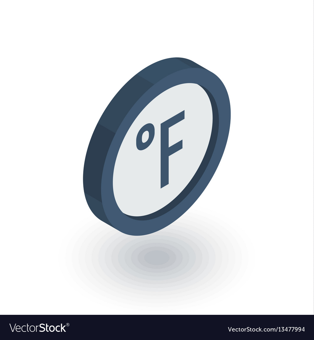 Degree fahrenheit isometric flat icon 3d