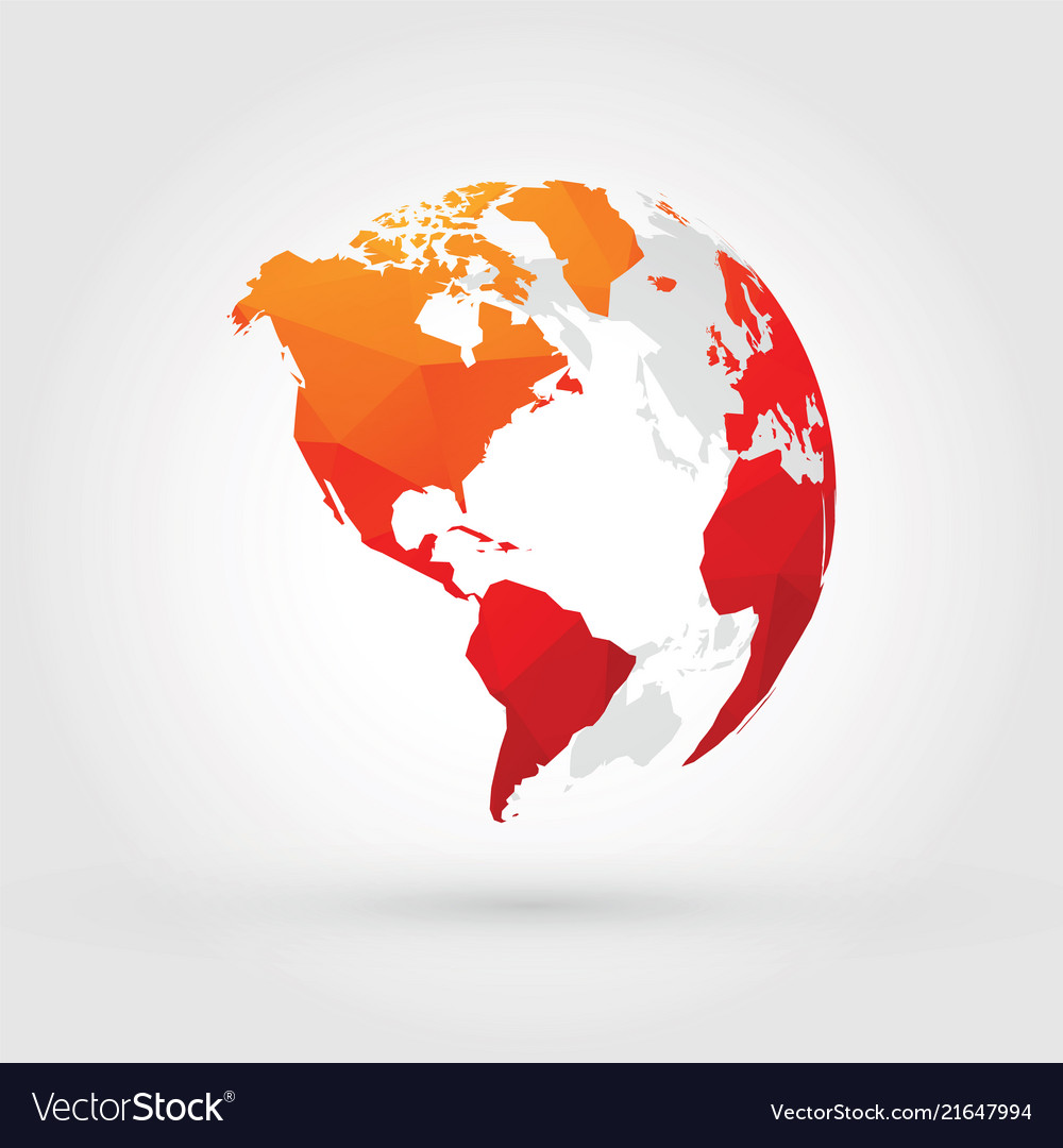 Map Of America North South And Central.Orange Red Globe North Central And South America