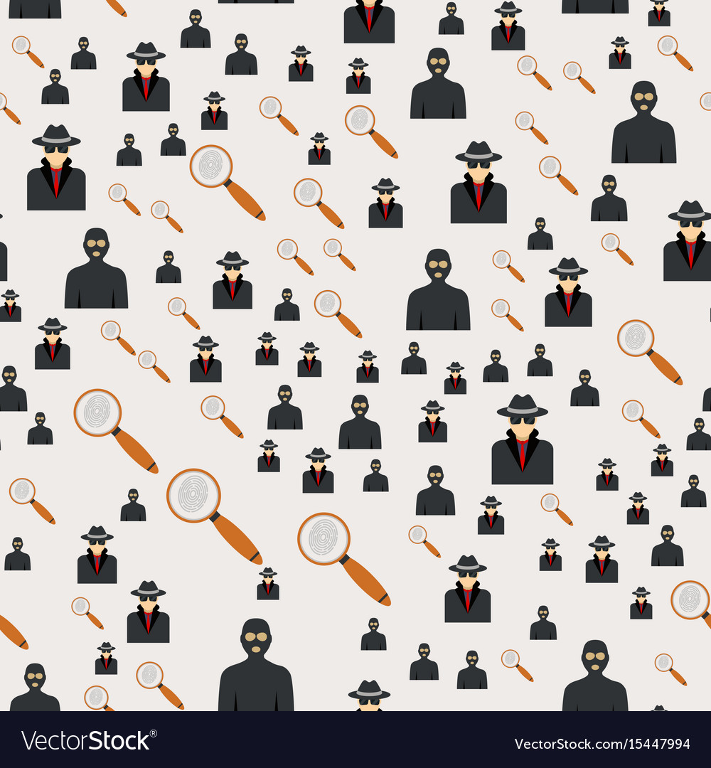 Seamless pattern criminal man in hood or criminal vector image