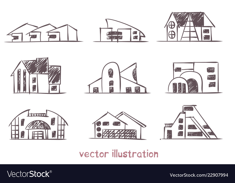 Sketch wooden house