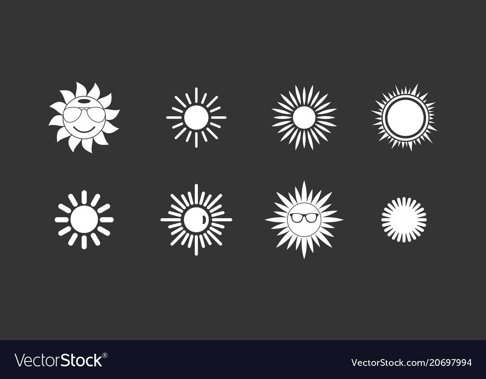 Sun icon set grey