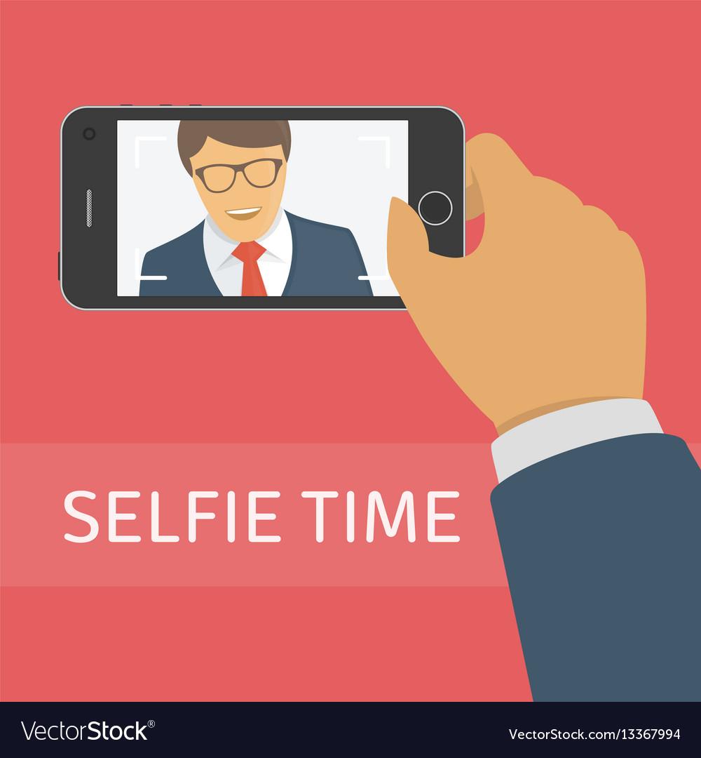 Taking selfie photo on smart phone