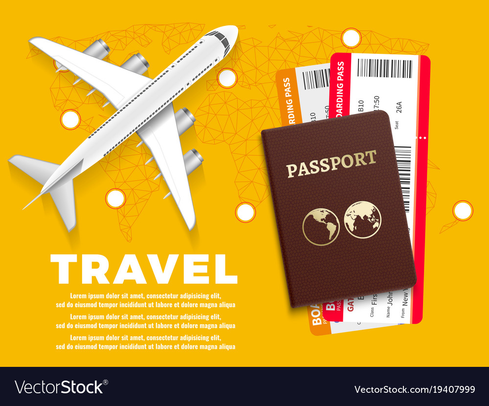 Air travel banner with plane world map and vector image