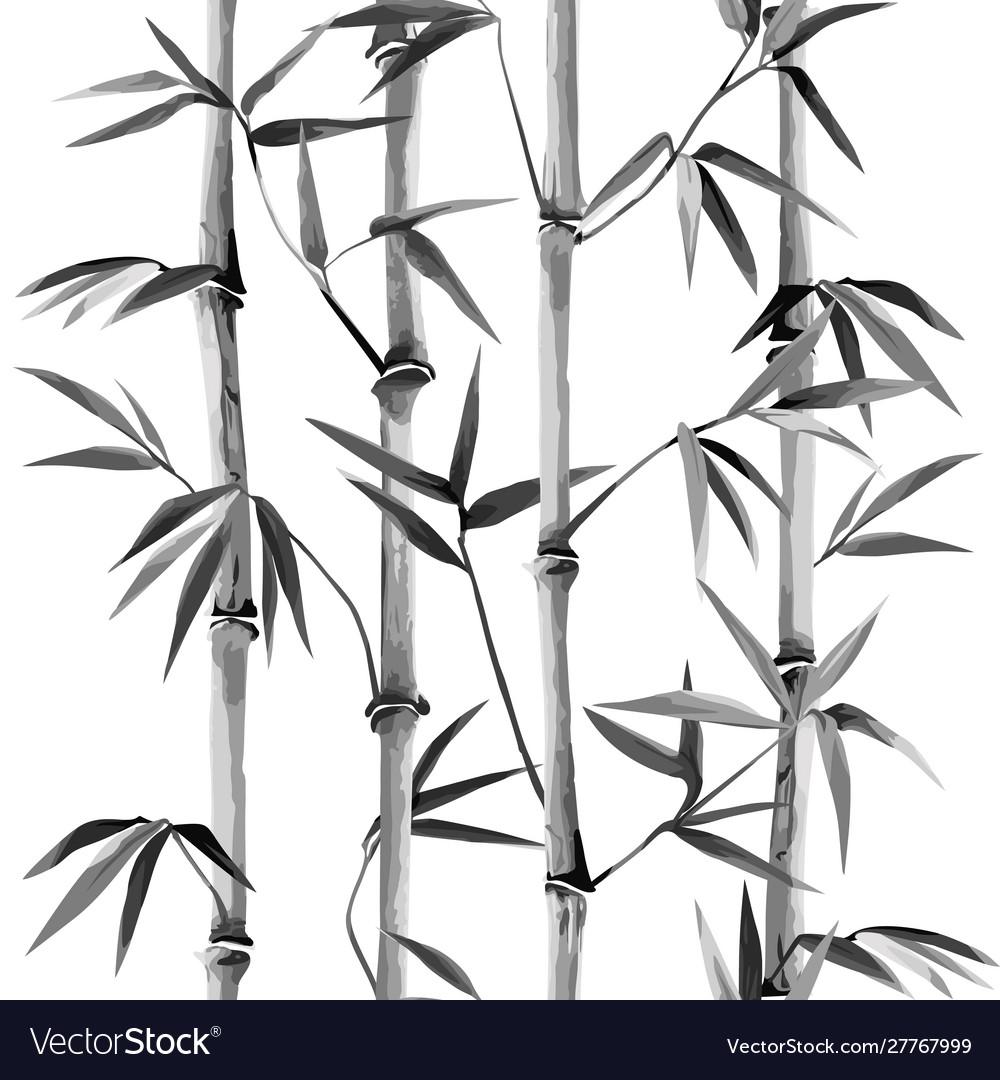 Bamboo seamless vertical border on white