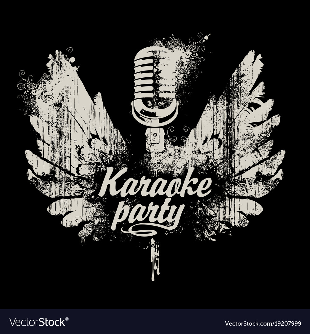Banner karaoke party with a microphone and wings