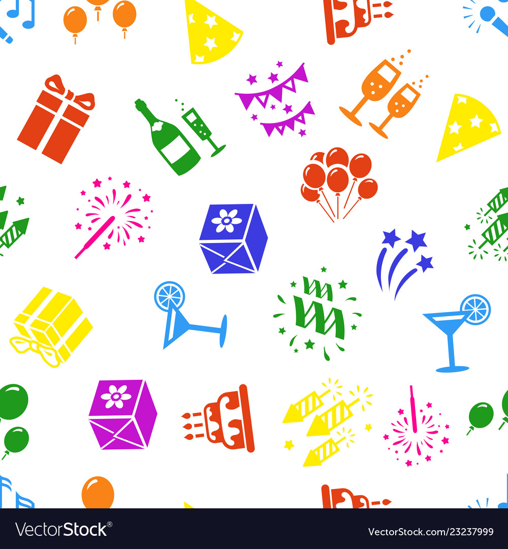 Birthday and celebration icons seamless background