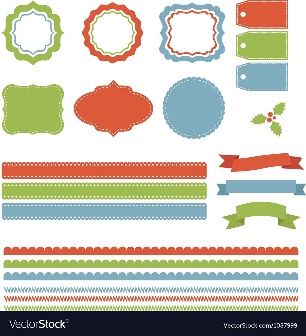 Christmas Labels Borders Ribbons Tags Set