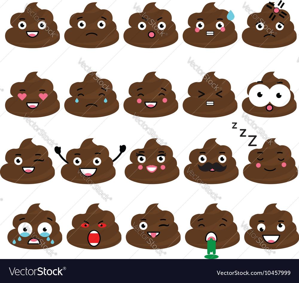Cute poop emoji set Turd emoticons design