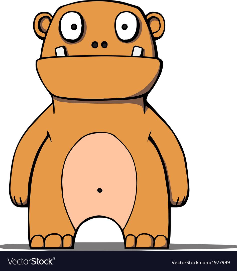 Funny cartoon bear monster