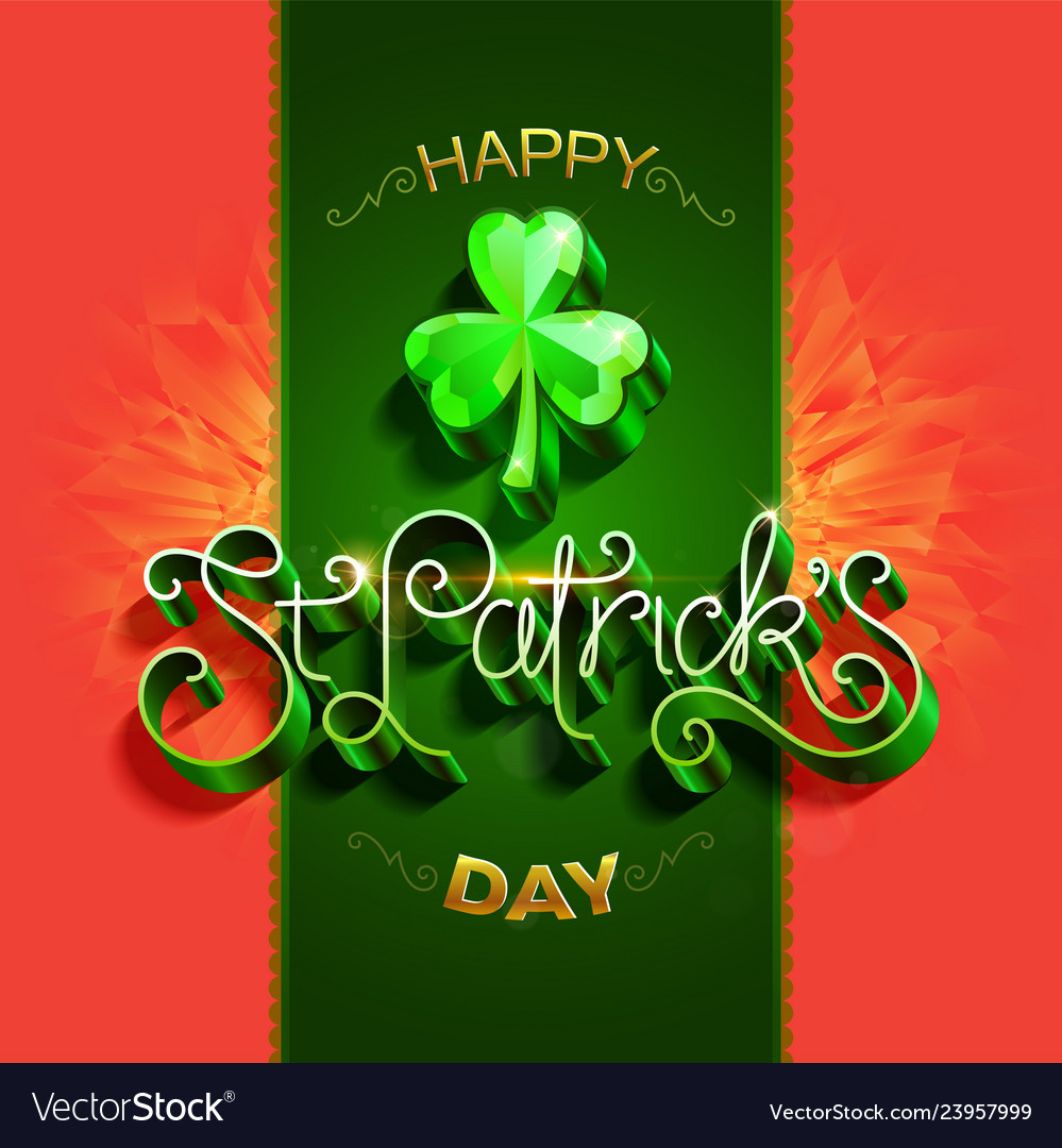 Happy saint patricks day greeting poster with 3d