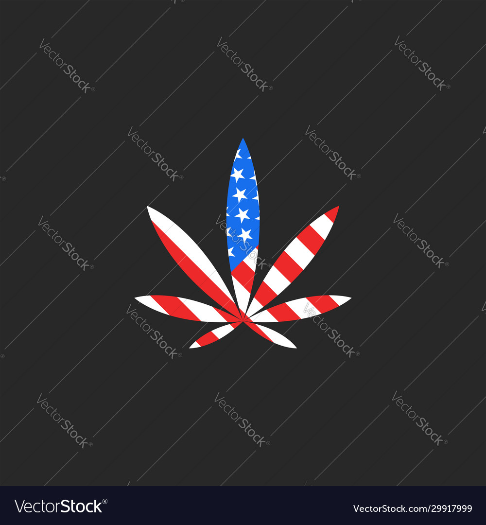 Hemp leaf and usa flag logo mockup creative