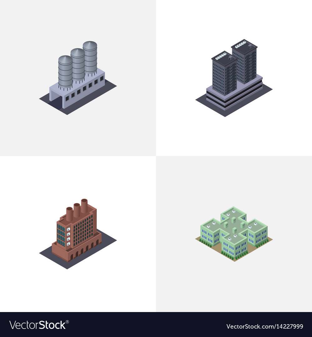 Isometric architecture set of water storage tower