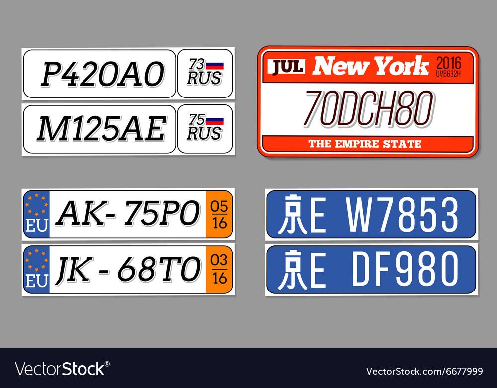 License car number plates set USA