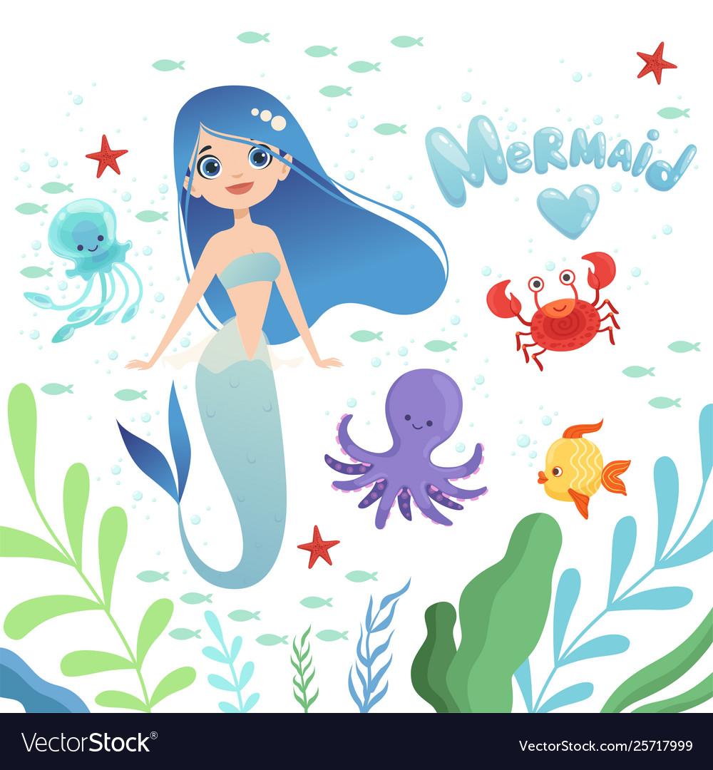 Mermaid background underwater life with cartoon