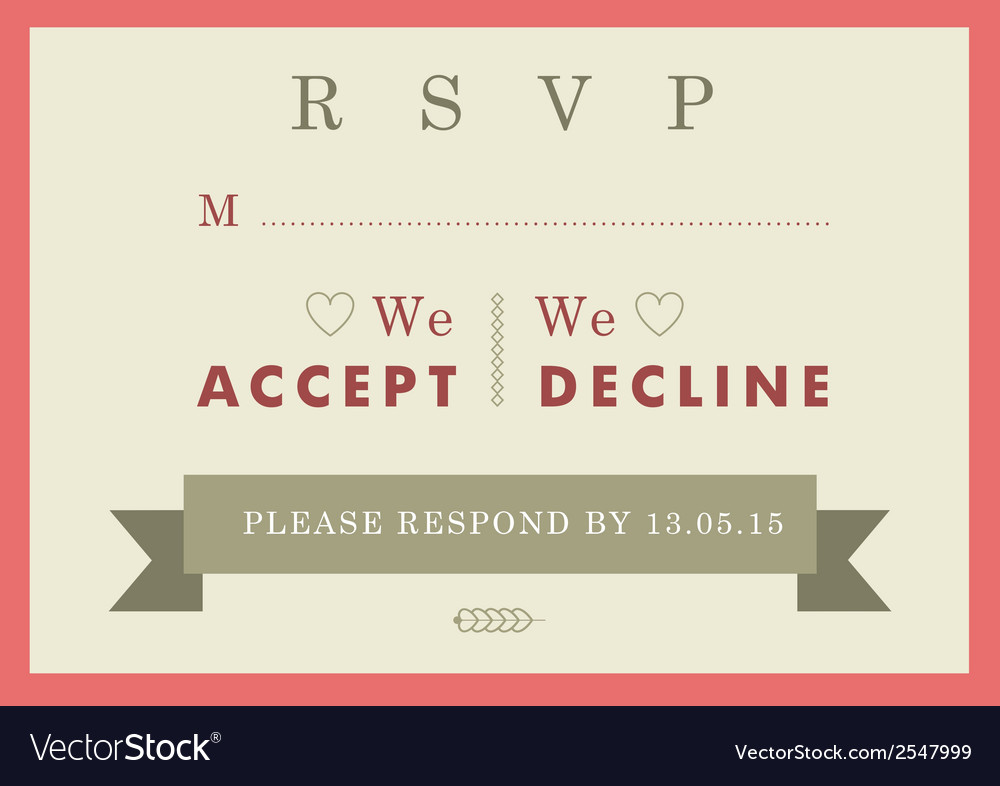 RSVP Wedding card red badge theme vector image