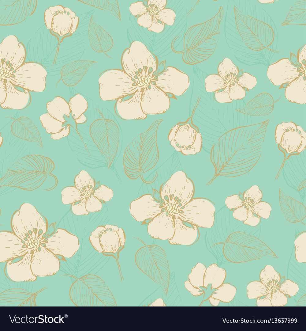 Seamless Vintage Floral Background Royalty Free Vector Image