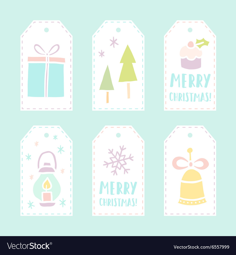 Set of 6 christmas gift tags