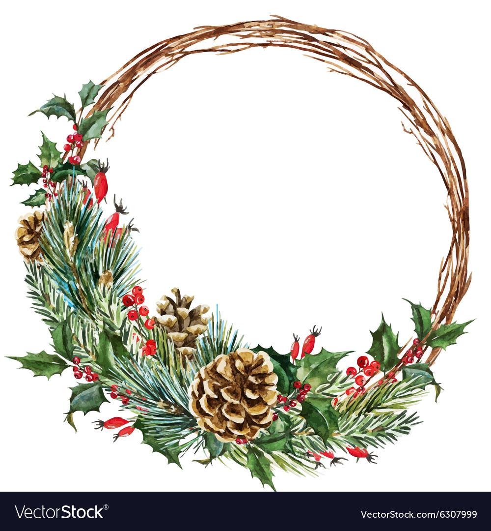 Watercolor Christmas Wreath Png.Watercolor Christmas Wreath Vector Image