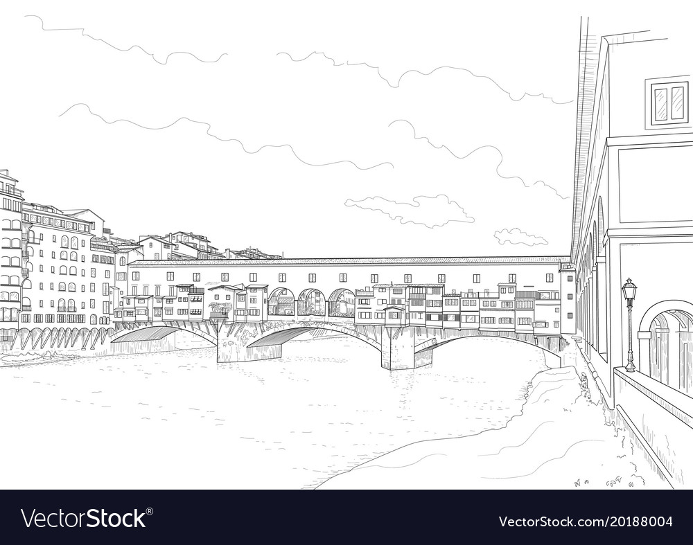 Cketch of the old bridge vector image