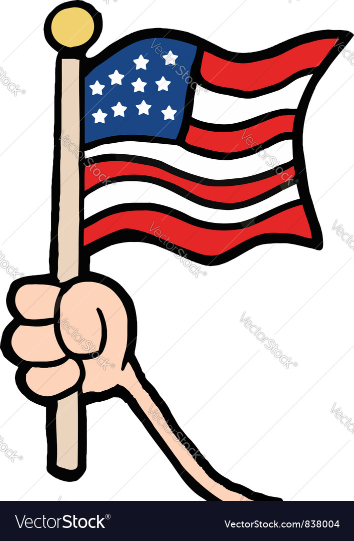 hand waving an american flag royalty free vector image rh vectorstock com waving flag vector tutorial waving flag vector mockup