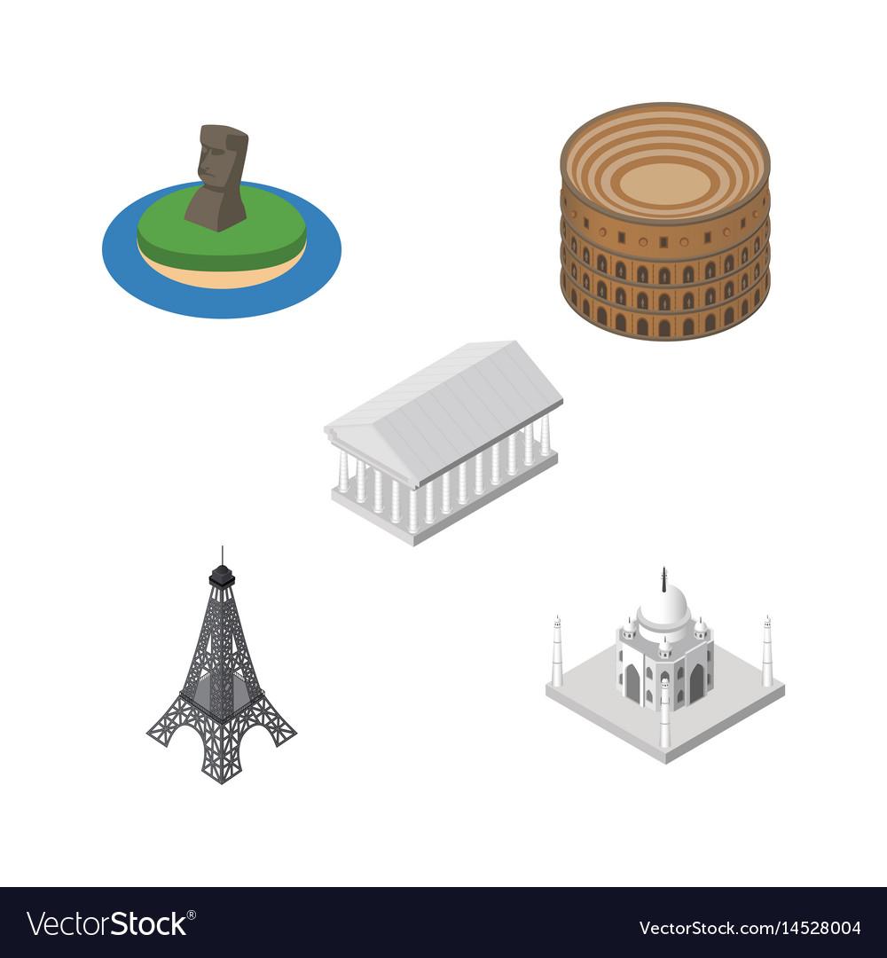 Isometric architecture set of athens paris india