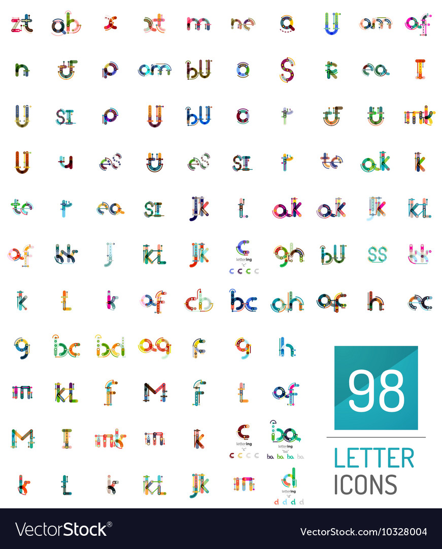e7a0bddbf87b Mega collection of 98 line designed letter logos Vector Image