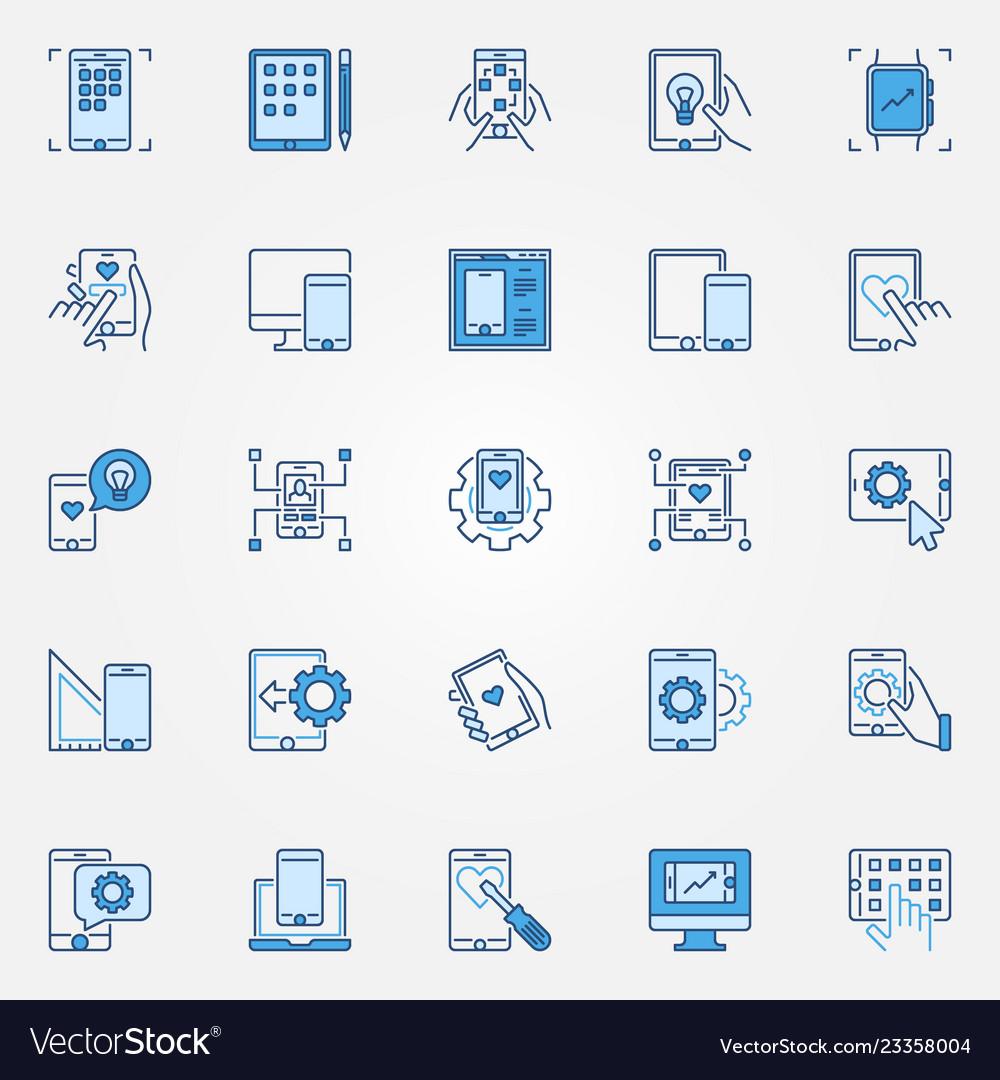 Mobile app development blue creative icons set