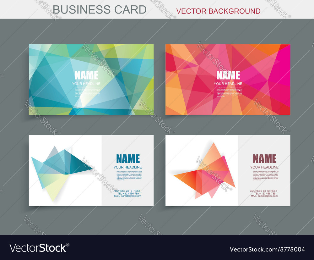 Modern business card template with faceted 3d vector image accmission Images
