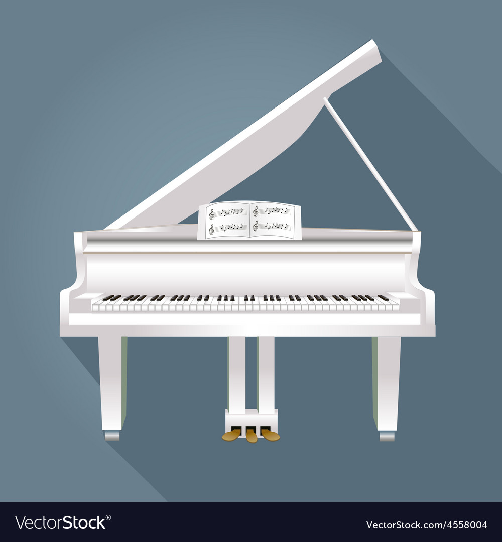 Piano with notes of white on a gray background