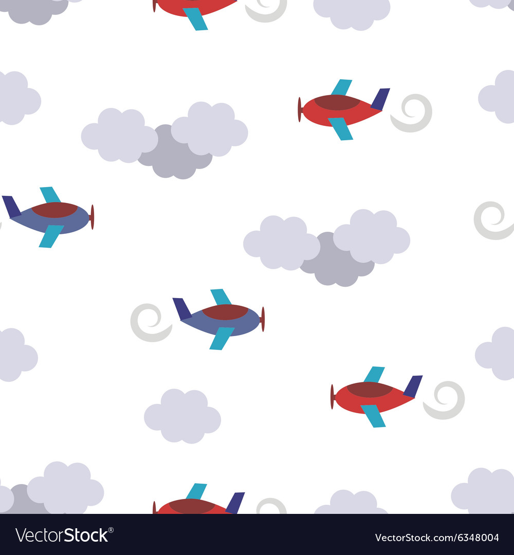 Seamless pattern with planes in clouds