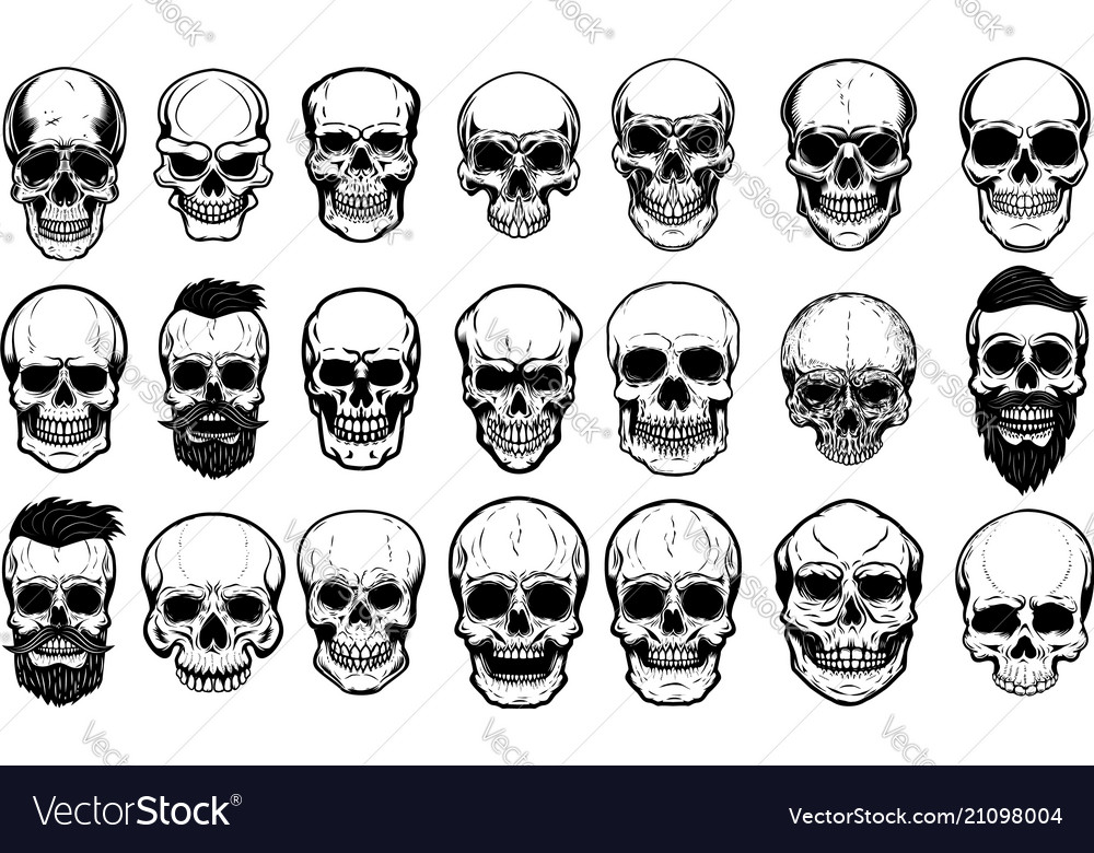 Set of human skull on white background design