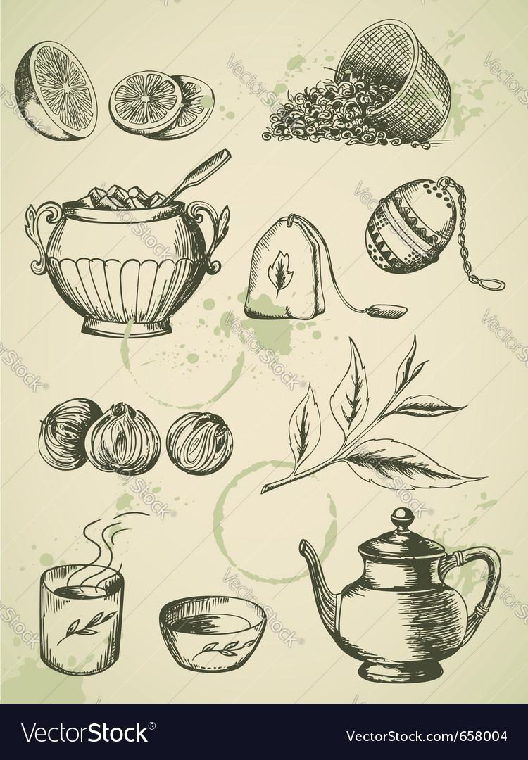 Set of vintage hand drawn tea icons