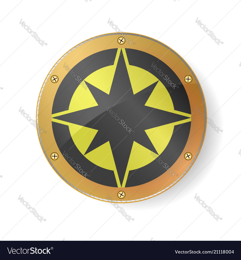 Souvenir - compass rose symbol in golden frame