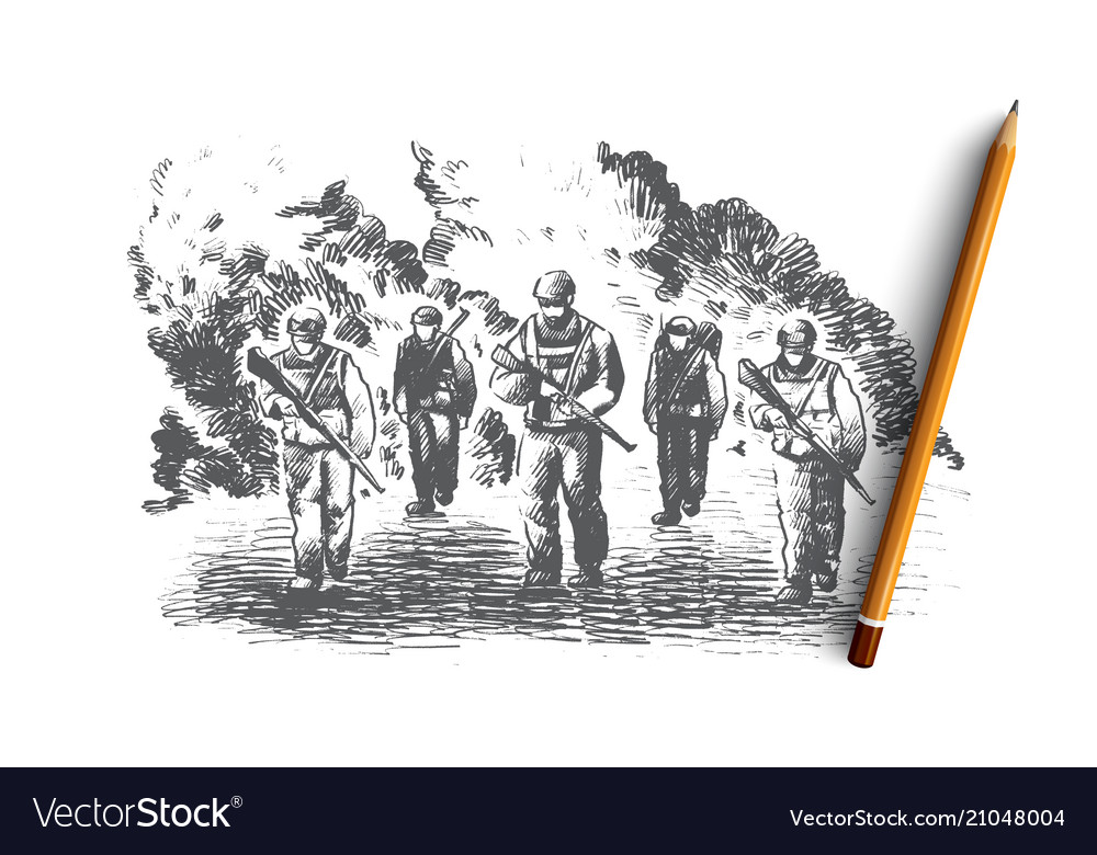 War concept hand drawn isolated vector image