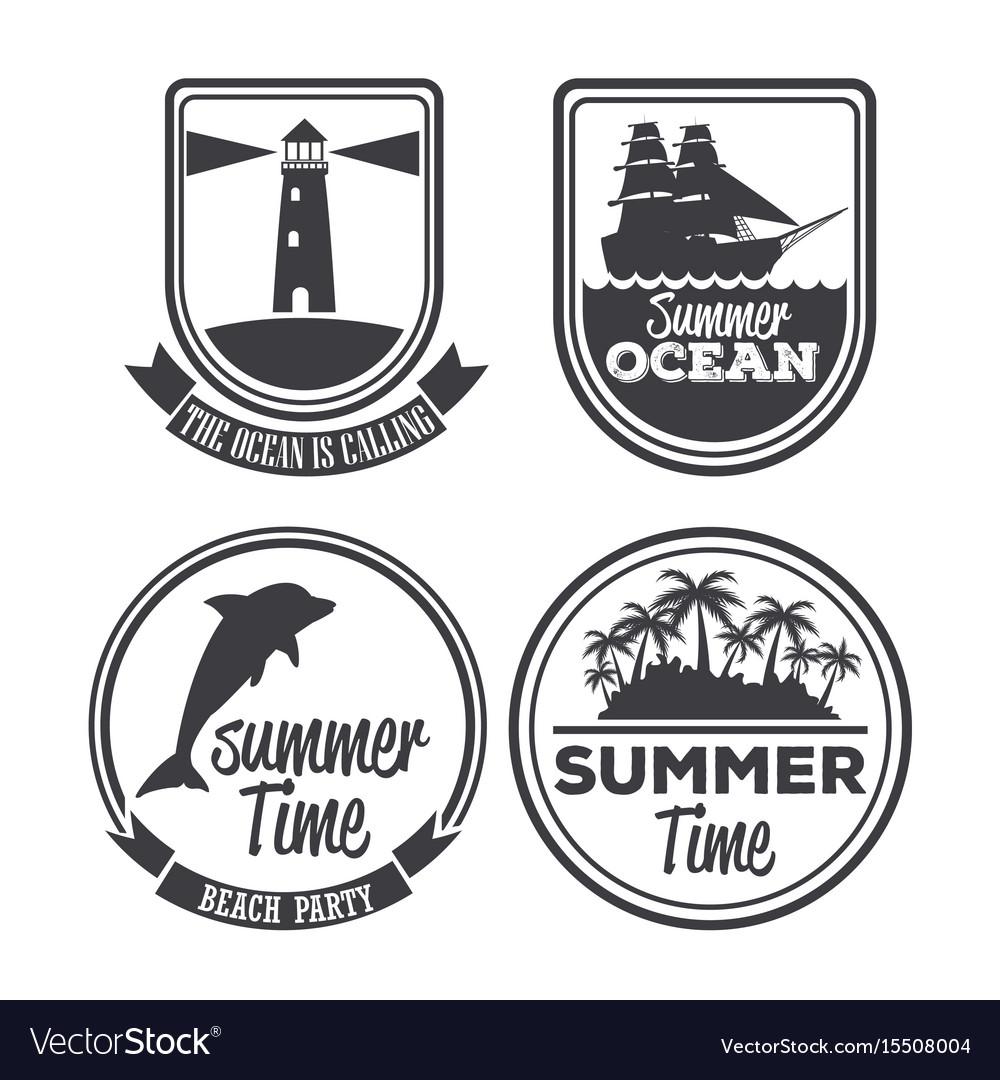 White background set logo summer time calligraphy