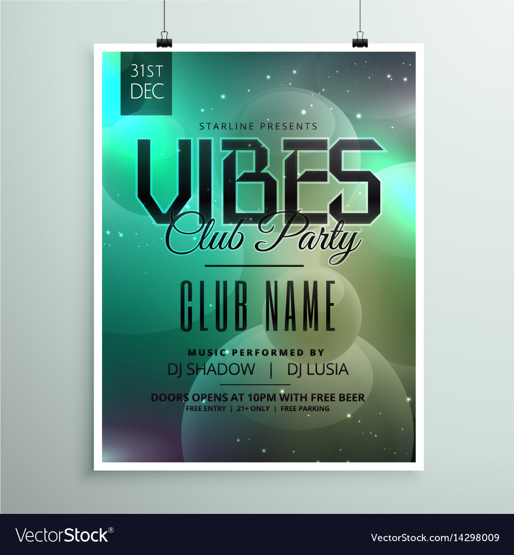 Club party music flyer template with invitation