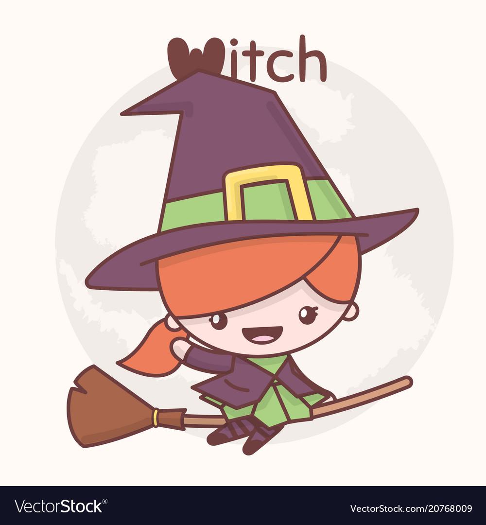Cute chibi kawaii characters halloween vector image